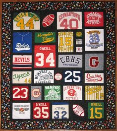 This fun t-shirt quilt contains letters, jerseys, and t-shirts of Elizabeth's husband. It was a blast to create! The custom fabric for the border really completes this colorful quilt. Now taking orders www. Jersey Quilt, Quilting Projects, Quilting Designs, Sewing Projects, Sewing Ideas, Quilting 101, Machine Quilting, Diy Projects, Old T Shirts