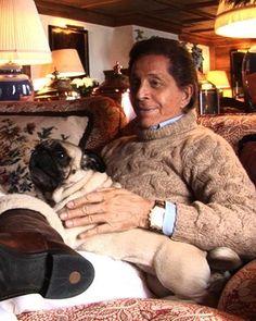 Valentino Garavani with his pug