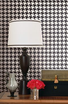 Houndstooth Wallpaper in Black and White design by Seabrook Wallcoverings
