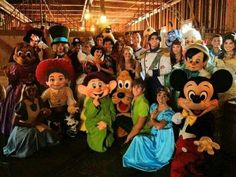 Eric, Ariel, Aurora, Phillip, Charming, Snow White, Mad Hatter, Alice, Wendy, Peter Pan, Pluto, Mickey, Gipetto, Dopey, Pearla, Captain Hook, Jesse, Mary Poppins, Bert, Goofy, Aladdin, Genie, Pinochio, & Belle - Before the Parade...<3