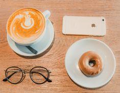 Arrangement of coffee, donuts, and ray-ban eyeglasses. Sunday Morning, Donuts, Eyeglasses, Ray Bans, Coffee, Tableware, Frost Donuts, Eyewear, Kaffee