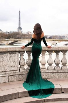 Cadencia - Emerald Velvet Gown with Long Off-Shoulder Sleeves – A&N Luxe Label Emerald Gown, Emerald Green Dresses, Emerald Green Evening Dress, Winter Gowns, Winter Formal Dresses, Winter Ball Dresses, Elegant Dresses, Pretty Dresses, Beautiful Dresses