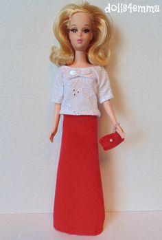 Francie Barbie Doll Clothes HM Retro Mod Top, Skirt & Purse Fashion NO DOLL d4e #DOLLS4EMMAOriginalDesigns #Clothing