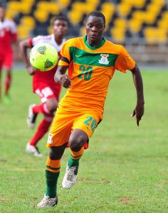 Patson Daka of Zambia during the Cosafa u20 Youth Championship Group C game between Seychelles and Zambia at Mafeteng Stadium, Maseru in Lesotho on 9 December 2013 ©Ryan Wilkisky/BackpagePix