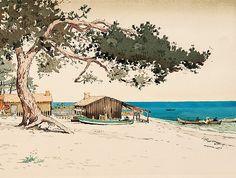 "Arcachon, Jean Paul Alaux 1909 ""Le pin tordu"""