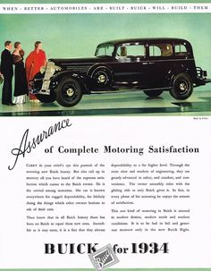 1934 BIG Vintage Buick Fisher Body Car Automobile Photo Print Ad