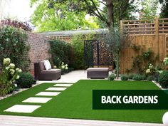 artificial grass lawn back gardens