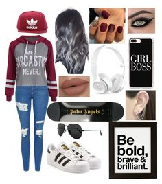 """#skatergirl"" by abbie0987 ❤ liked on Polyvore featuring adidas, Topshop, adidas Originals, Casetify, Beats by Dr. Dre, Otis Jaxon, Ray-Ban, Urban Outfitters and Palm Angels"