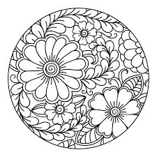 Premium Vector | Outline round floral pattern for coloring the book page. Flower Coloring Pages, Mandala Coloring Pages, Coloring Book Pages, Pattern Coloring Pages, Dot Painting, Ceramic Painting, Blue Floral Wallpaper, Ornament Drawing, Floral Drawing