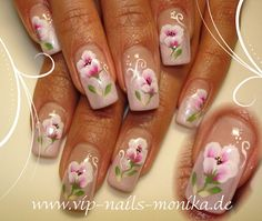 One Stroke Flowers, light rosè by vipnailsmonika from Nail Art Gallery