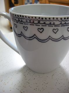 "Sharpie mugs--use Sharpie ceramic markers or Martha Stewart glass paints (Martha Stewart is the best). Clean mug with rubbing alcohol first, and let decorated mug ""cure"" for several days/weeks before baking."