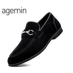 abfc7efe7 Agemin Wysokiej jakości zamszowe buty męskie 2018 oddychające modne męskie  buty Casual Brand New Slip On