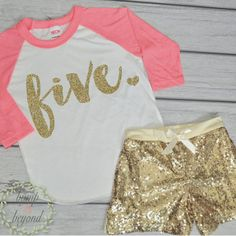 5 Year Old Birthday Shirts 5th Birthday Shirt Outfit Set with Shorts Trendy Toddler Girl Gold Five Outfit Gold Sequin Shorts Raglan Set by BumpAndBeyondDesigns