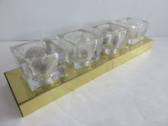 Mid-Century Modern Four Light Lightolier Brass And Thick Glass Light fixture, Available At Florida Modern. by FLORIDAMODERN on Etsy