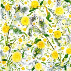 Good morning Sunshine! Close up of a Summer-themed fruit, veg and flower design.. ☀️ 'Greens and Yellows' : part 2 of 7