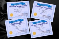 Some of the certificates that accompany the rosettes and sashes for Reserve Champion, Champion, Grand Champion and Supreme Champion in the different categories: Show, Sport and Stock as per horse and rider combination