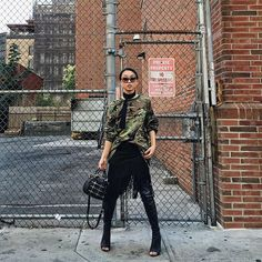 31 Perfect Looks To Copy This October #refinery29  http://www.refinery29.com/october-outfit-of-the-day-ideas#slide-20  Camo print, fringe, and open-toed thigh-highs? This autumn , dare to throw it all on.Ralph Lauren skirt, Tony Bianco shoes, Isawan bag, Prada sunglasses, Daniel Avakian scarf....