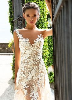 Buy discount Marvelous Tulle & Lace Bateau Neckline See-through Sheath Wedding Dresses With Lace Appliques at Magbridal.com
