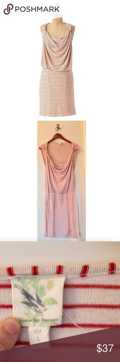 Weston Wear Anthro Land of Springs Sailor Dress Size Large, Red/tan color, Striped jersey frock with cowl front and knots at the shoulders. Lined. Rayon and spandex, Pre owned great condition! Anthropologie Dresses Midi