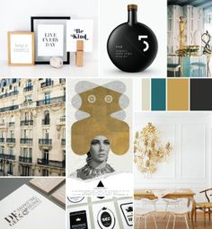 moodboard gold-black and green/blue turquoise