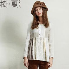 Women'S Autumn Vintage O-Neck Full Sleeve Hollow Out Single Breasted Solid Patchwork Cotton Shirt Clothes