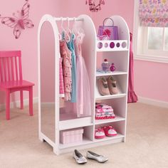 Sometimes kids just need something extra special to keep their dress up play neat and tidy. With a bright white finish, our dress up unit is perfect for storing and organizing play clothes, shoes, toys and more.