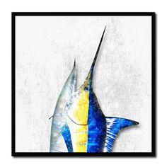 Swordfish Fish Head Art White Canvas Print Picture Frame Wall Home Decor Nautical Fishing Gifts