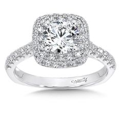 Double Cushion Halo Engagement Ring with Side Stones in 14K White Gold (0.58ct…