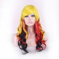 70CM Women Long Sexy Curly Wavy Cosplay Wigs Girl Yellow Red Black Mix Hair Wig