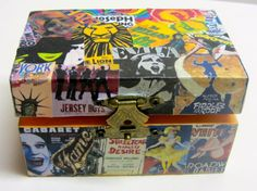 Vintage Broadway Show Posters collage and decoupage wooden box mixed media art by Sonoma Artistry on Etsy, Sold