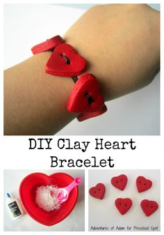 DIY Clay Heart Bracelet for Valentine's Day