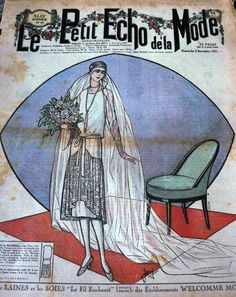 1927 French bridal fashion on the cover of Le Petit Echo de la Mode fashion and sewing pattern magazine