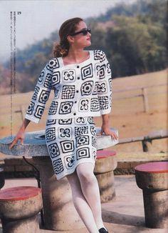 Black and White Motifs Suit free crochet graph pattern