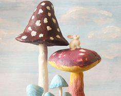 The Poetic Rabbit - Giant Brown blue and purple mushroom Terrarium