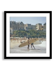 """Spotted this Framed """"Peter Viertel with his Surfboard on the Beach at Biarritz, France"""" by Slim Aarons on Rue La La. Shop (quickly!)."""