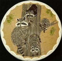 """Racoon Family 5"""" porcupine quill box by Tom and Sally Paquin"""