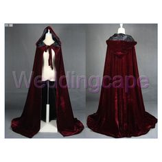 Wine Black Velvet Long Hooded Cloaks Medieval Wedding Capes Cloaks... ($38) ❤ liked on Polyvore featuring costumes, cloaks, medieval, dresses, jackets, masquerade halloween costumes, masquerade costume, party costumes, masquerade party costumes and party halloween costumes