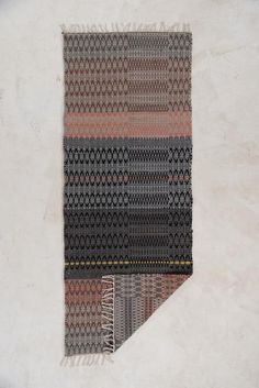 Grey and Orange, Wool and Cotton Woven Runner