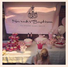 Pink baptism desert table #pink #christening #baptism # little girl