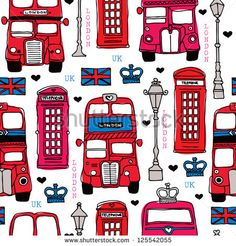 Seamless illustration London love UK double decker bus and telephone booth background pattern in vector