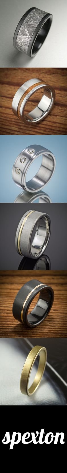 Do you want a mass-produced wedding band from China, or do you want a handmade ring, custom-cut to your design specifications?    Spexton's rings are handmade in the USA from modern materials like Black Zirconium, Titanium, Steel, Meteorite, Rose Gold, Wood, and More.