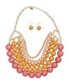 Chunky Bead Necklace Set   Retro Inspired Necklace   Pink Orange