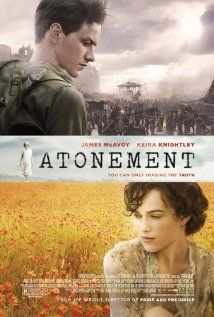 Atonement -- this is the film adaptation of my second favorite novel, written by Ian McEwan. The movie misses a lot of the book, but the scenery and costumes look great, and James McAvoy and Keira Knightley act well as two lovers separated by war. James Mcavoy, Sad Movies, Great Movies, Movies To Watch, Movies Free, Saddest Movies, Ian Mcewan, Keira Knightley, Movies Showing