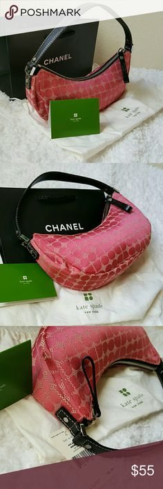""" Kate spade  mini bag Clutch Handbag purse Beautiful super chic  kate spade  mini bag looks new ! Comes with dust bag and tang. -Purse measures about 10"""" long, 4"""" tall and 2.5"""" wide   plus bonus free  ☆Chanel shopping bag.  Fabulous deal !! kate spade Bags"""