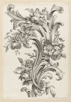 From Cooper Hewitt, Smithsonian Design Museum , Alexis Peyrotte, Floral and Acanthus Leaf Design Etching on white laid paper Baroque Frame, Tattoo Schwarz, Google Art Project, Images Vintage, Ornaments Design, Design Museum, Leaf Design, Floral Design, Design Art