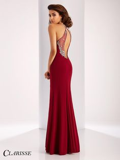 Sexy Clarisse 2017 Prom Dress Style 3078. Find the perfect balance of sexy and elegant with this gorgeous fitted prom dress featuring a sexy slit, halter neck and open back. Shop at your Clarisse retailer today! Click through to learn more! COLOR: Smoke, Marsala SIZE: 00-20
