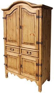 Rustic Pine Collection – Sierra Armoire – - Western Home Decor Living Room Rustic Pine Furniture, Mexican Pine Furniture, Furniture Wax, Brown Furniture, Distressed Furniture, Home Decor Furniture, Shabby Chic Furniture, Western Furniture, Corner Armoire