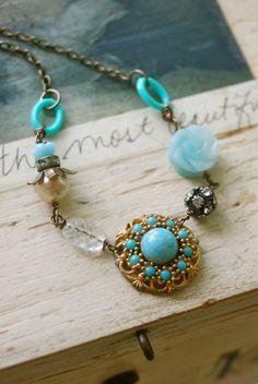 Sophia.vintage assemblage,amazonite,rhinestone beaded necklace. Tiedupmemories