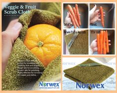 Norwex Veggie and Fruit Scrub Cloth versus raw vegetables.  (Looking for the image owner to provide attribution.)