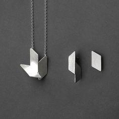 Geometric Silver Jewelry Set 18 Pendant Necklace